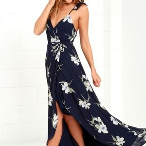 NWT - Lulu's Navy Floral Print Wrap Dress - Size S
